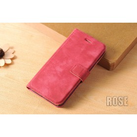 Housse Etui Flip Cover Cuir Velours Véritable Rose Apple iPhone 7 Luxe