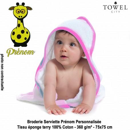 Serviette-bains-cap-Girafe-Brode-Fille-Garcon-Prenom-Personnalisee