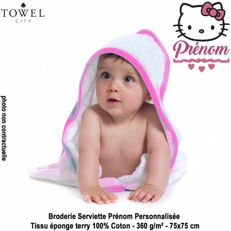 Serviette-bains-cap-Fille-Hello-Kitty-2-Brode-Prenom-Personnalisee