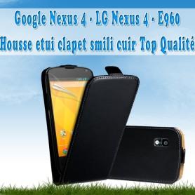 Google Nexus 4 - Housse Etui Clapet Simili Cuir Noir