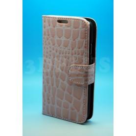 Etui Portefeuille Crocodile Motif Rosé Samsung Galaxy S4 i9505