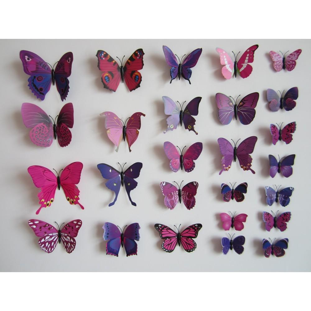 12 pi ces 3d stickers papillon ros 2 d coration maison butterfly 3d oscom. Black Bedroom Furniture Sets. Home Design Ideas