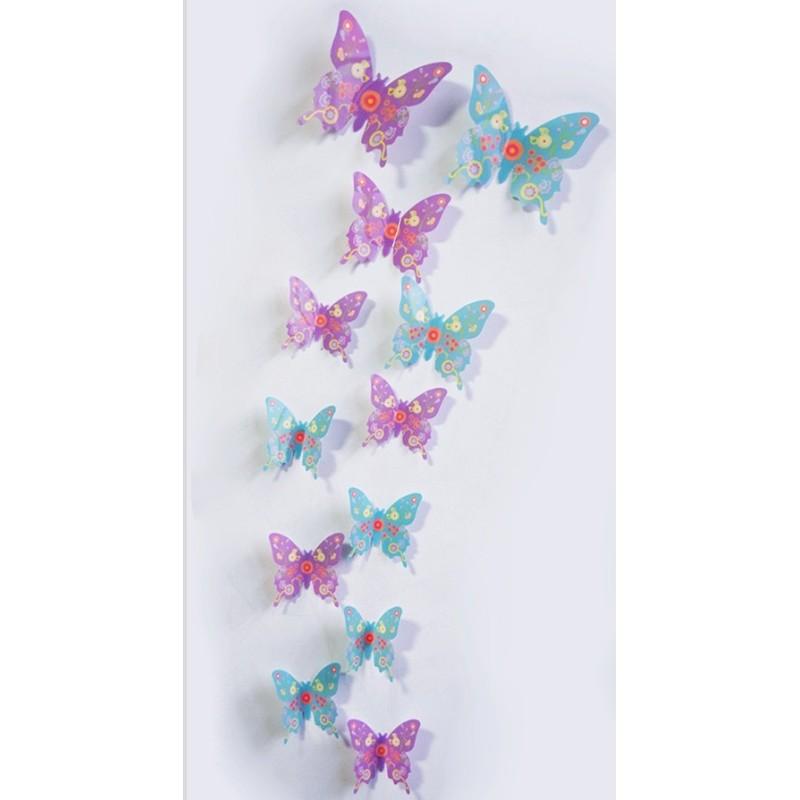 12 pi ces 3d stickers papillon ros colore d coration maison butterfly 3d oscom. Black Bedroom Furniture Sets. Home Design Ideas