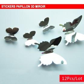 12 Pièces 3D Stickers Papillon Miroir Décoration Maison Butterfly 3d