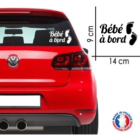 "Stickers ""Bébé à bord 2"" 14x9 cm - Blanc - Promo"
