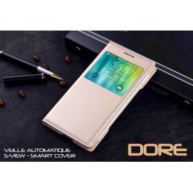 Housse Etui Flip S view Doré Samsung Galaxy A7 Veille Auto Smart Case Cover