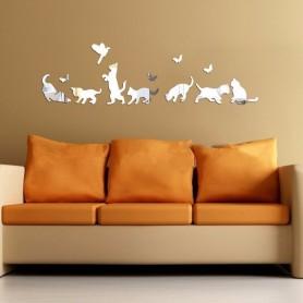 3D Acrylique Stickers Papillon et Chat Miroir Décoration Maison Butterfly 3d
