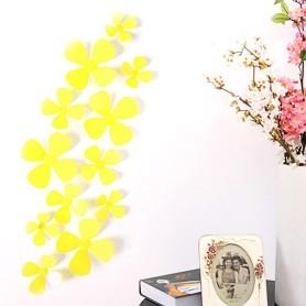 12 Pièces Lot 3D Stickers Fleur Trèfle à 4 Jaune Pvc Design Pétales Décoration Maison