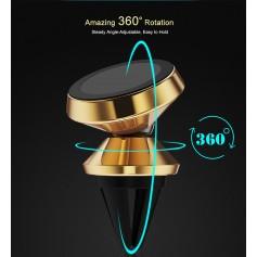 Support Voiture Magnétique Aiment Fort 360° Grille Aération Corps D'Alu