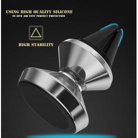 ARGENT Support Voiture Magnétique Aiment Fort 360° Grille Aération Smartphone