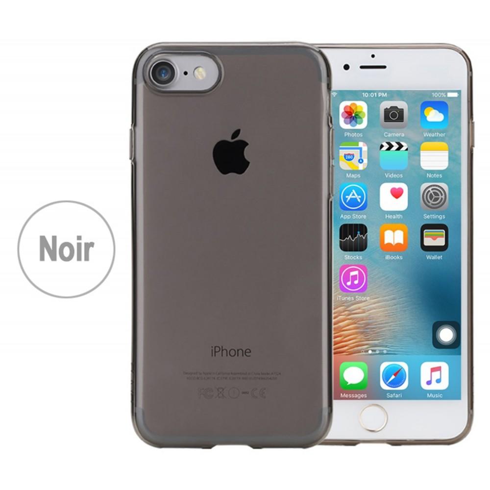 iphone 8 Coque Etui Extra Fin 0,2 mm silicone transparente noir ...