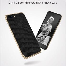 KISSCASE Ultra Fin Carboné Fiber Design Coque NOIR pour iPhone 8