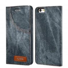 Housse Etui GRIS Tissu Jeans Denim pour Apple iPhone 8