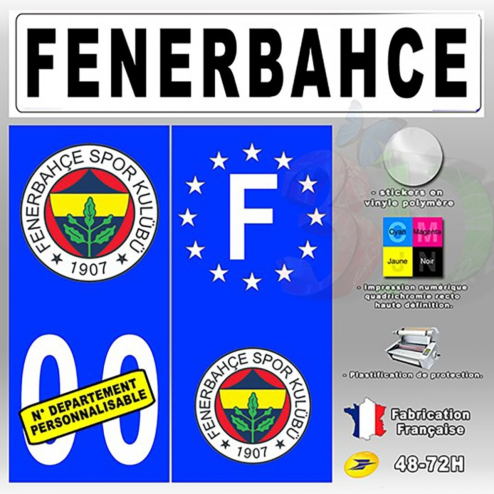 4x stickers plaques d 39 immatriculation 120x50 mm fenerbahce sk oscom. Black Bedroom Furniture Sets. Home Design Ideas
