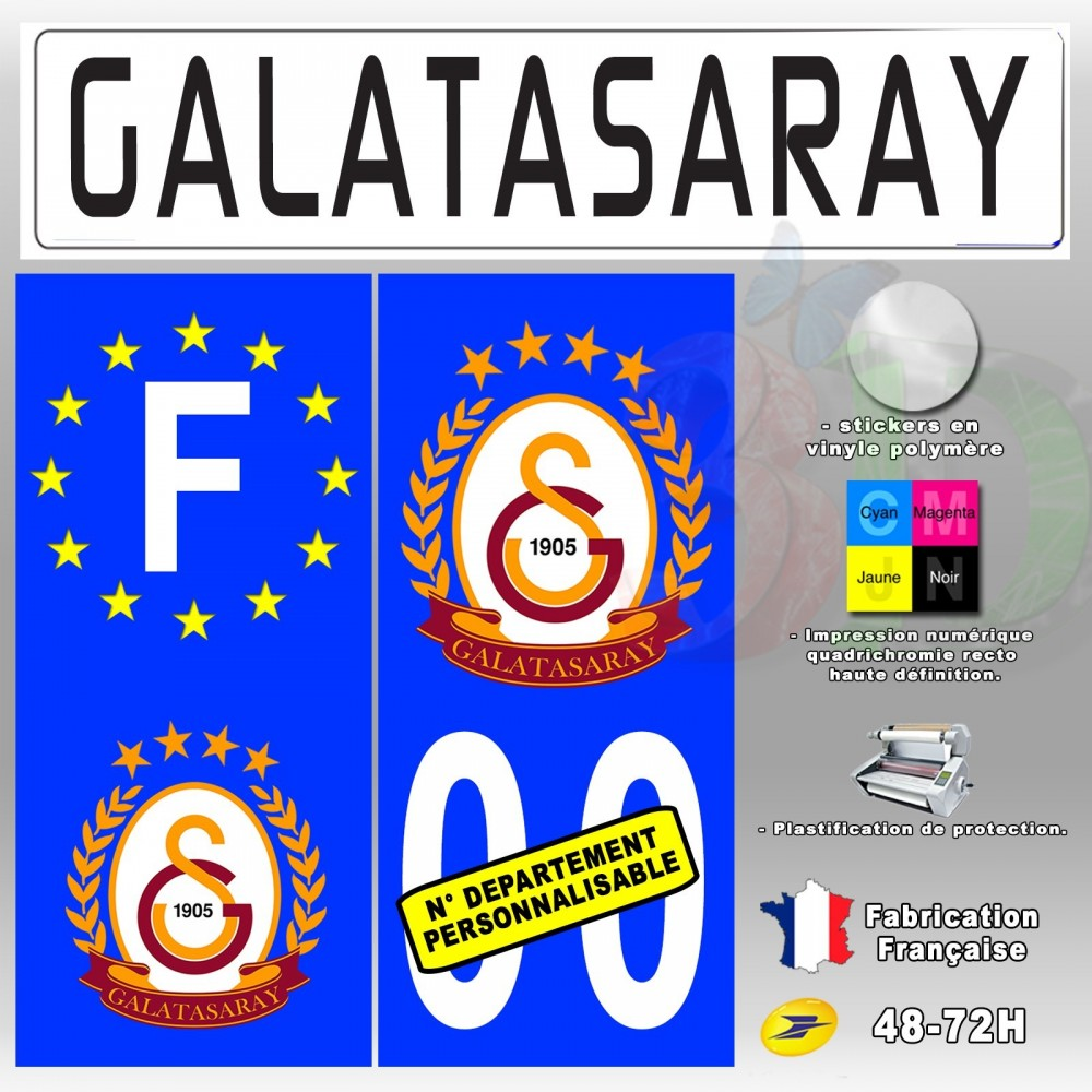 4x stickers plaques d 39 immatriculation 120x50 mm galatasaray sk type 2 oscom. Black Bedroom Furniture Sets. Home Design Ideas