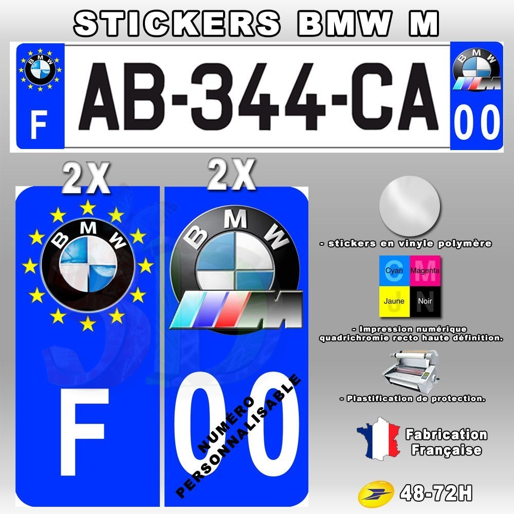 4x stickers plaques d 39 immatriculation 120x50 mm bmw m power oscom. Black Bedroom Furniture Sets. Home Design Ideas
