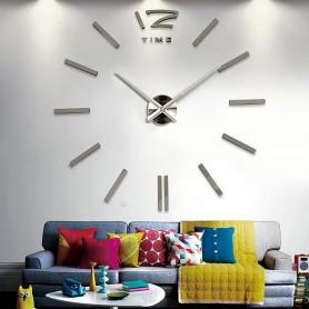 3d Stickers GRIS FONCE Grand Horloge Montre Murale Acryliques A2 - 120 cm