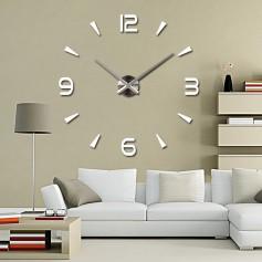 3d Stickers BLANC Grand Horloge Montre Murale Acryliques A1 - 120 cm