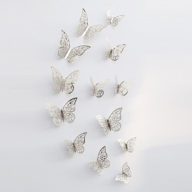 12 Pièces Lot 3D Stickers Papillon Effet Métallique Argent Ref:TC