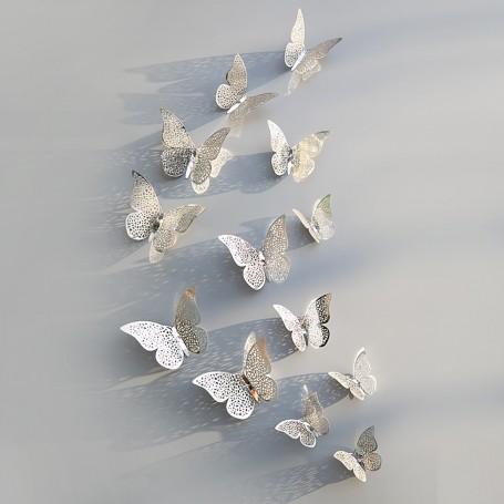 12 Pièces Lot 3D Stickers Papillon Effet Métallique Argent Ref:SB