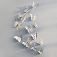 12 Pièces Lot 3D Stickers Papillon Effet Métallique Argent Ref:SB Décoration murale