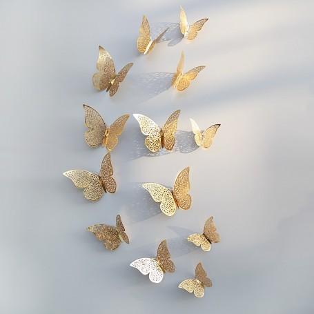 12 pi ces lot 3d stickers papillon effet m tallique or. Black Bedroom Furniture Sets. Home Design Ideas