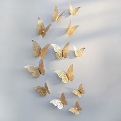 12 Pièces Lot 3D Stickers Papillon Effet Métallique OR DORE Ref:GB Décoration murale