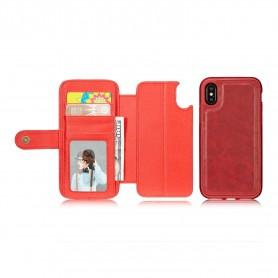 Etui Portefeuille Simili Cuir Détachable Magnet iPhone X Détenteurs de cartes