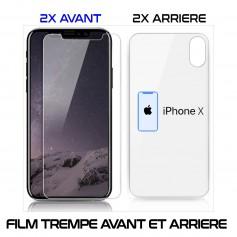 Lot 2 - Film Protection Verre Trempe 2 Avant et 2 Arrière Pour iPhone X