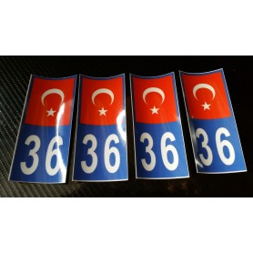 4x Stickers Plaques D'immatriculation Fin Série Turquie 36 - 100x45 mm