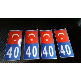 4x Stickers Plaques D'immatriculation Fin Série Turquie 40- 100x45 mm