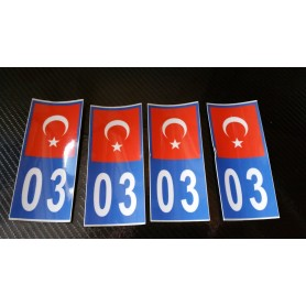 4x Stickers Plaques D'immatriculation Fin Série Turquie 03 - 100x45 mm
