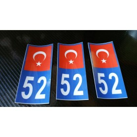 3x Stickers Plaques D'immatriculation Fin Série Turquie 52 - 100x45 mm