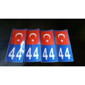 4x Stickers Plaques D'immatriculation Fin Série Turquie 44 - 100x45 mm