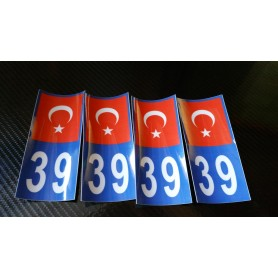 4x Stickers Plaques D'immatriculation Fin Série Turquie 39 - 100x45 mm