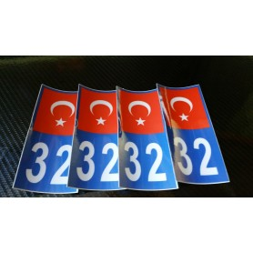 4x Stickers Plaques D'immatriculation Fin Série Turquie 32 - 100x45 mm