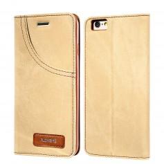 Housse Etui Portefeuille FLOVEME BEIGE Effet Jeans Denim pour Apple iPhone 7 PLUS