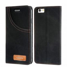 Housse Etui NOIR Tissu Jeans Denim pour Apple iPhone 7 FLOVEME