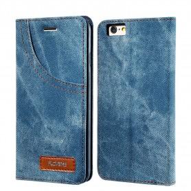 Housse Etui Bleu Tissu Jeans Denim pour Apple iPhone 8