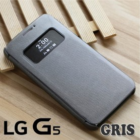 Etui Smart View Cover Gris LG G5 Film Protection Port 48h Offert