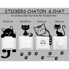 Stickers NOIR Lots Chaton Chat Déco Maison Interrupteur Prise Promo