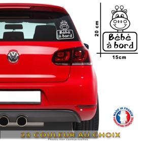 """Stickers """"Bébé à bord 07"""" 20x15 cm - 23 Couleur au choix"""