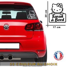 """Stickers """"Bébé à bord Hello Kitty """" Prénom Personnalisable 20x17 cm"""