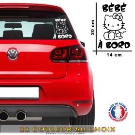 """Stickers Bébé à bord """"Hello Kitty 12"""" 20x14 cm - 23 Couleur au choix"""