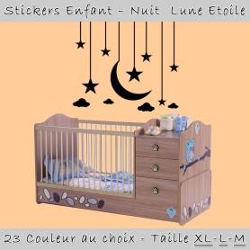 Stickers Enfant Nuit Lune Etoile 60x50 cm 23 Couleur au choix