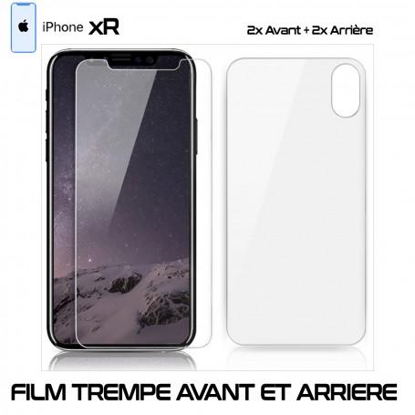 Lot 2 - Film Protection Verre Trempe 2 Avant et 2 Arrière Pour iPhone XR