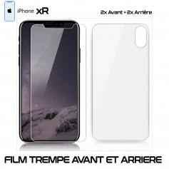 Pour iPhone XR Lot 2 - Film Protection Verre Trempe 2 Avant et 2 Arrière
