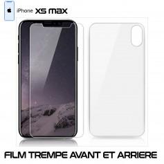 pour Apple iPhone XS MAX Vitre Verre en Trempe Avant et Arrière