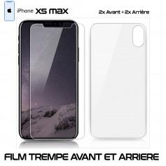 Pour Apple iPhone XS MAX Lot 2 - Vitre Verre en Trempe Avant et Arrière