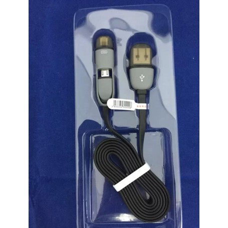 ios Certifié 2in1 Câble Micro USB et Lightning pour iPhone XRS Max Samsung S Note 8 9 Edge